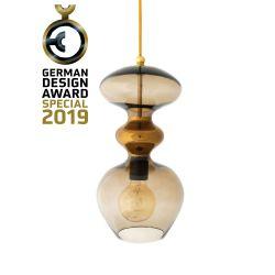 Suspension verre soufflé Futura, diamètre 18 cm, Ebb & Flow, Marron glacé, partie supérieure doré et câble doré