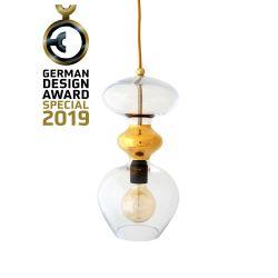 Suspension verre soufflé Futura, diamètre 18 cm, Ebb & Flow, Transparent, partie supérieure doré et câble doré