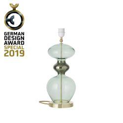 Lampe de chevet verre soufflé Futura, diamètre 18 cm, Ebb & Flow, Vert forêt, partie supérieure doré et câble doré