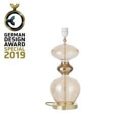 Lampe de chevet verre soufflé Futura, diamètre 18 cm, Ebb & Flow, Doré fumé, partie supérieure doré et câble doré