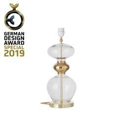 Lampe de chevet verre soufflé Futura, diamètre 18 cm, Ebb & Flow, Transparent, partie supérieure doré et câble doré