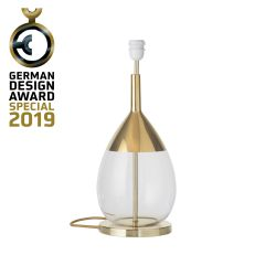 Lampe de chevet goutte en verre soufflé Lute, diamètre 22 cm, Ebb & Flow, Transparente, partie supérieure doré et câble doré