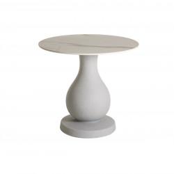 Table Ottocento M, base effet granit plateau rond finition marbre, 80cm, Slide