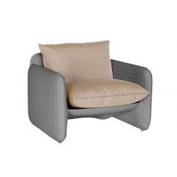 Fauteuil Mara, structure effet cuir naturel, coussin tissu terre de Sienne, Slide