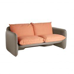 Sofa Mara, structure orange, coussin tissu terre de Sienne, Slide