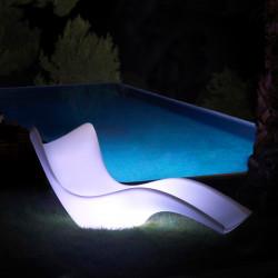 Chaise Longue Surf lumineuse, Vondom, éclairage Led blanc, alimentation par câble