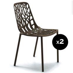 Lot de 2 chaises design Forest, Fast brun foncé