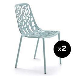 Lot de 2 chaises design Forest, Fast bleu pastel