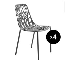 Lot de 4 chaises design Forest, Fast gris métal