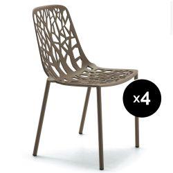 Lot de 4 chaises design Forest, Fast or perlé