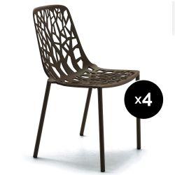 Lot de 4 chaises design Forest, Fast brun foncé