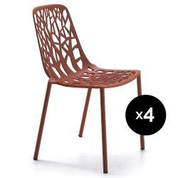 Lot de 4 chaises design Forest, Fast rouge terre cuite