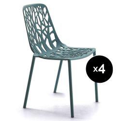 Lot de 4 chaises design Forest, Fast bleu foncé