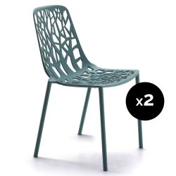 Lot de 2 chaises design Forest, Fast bleu canard