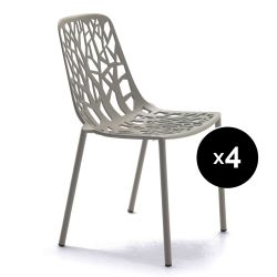 Lot de 4 chaises design Forest, Fast Iron grey