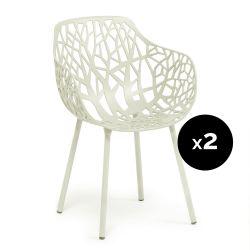 Lot de 2 fauteuils design Forest, Fast blanc crème