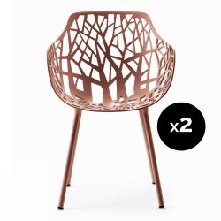 Lot de 2 fauteuils design Forest, Fast rouge terre cuite