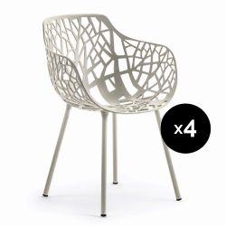 Lot de 4 fauteuils design Forest, Fast gris poudré