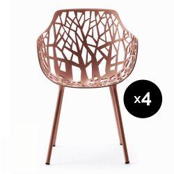 Lot de 4 fauteuils design Forest, Fast rouge terre cuite