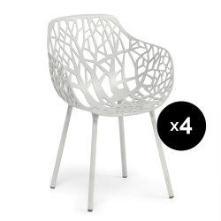 Lot de 4 fauteuils design Forest, Fast blanc