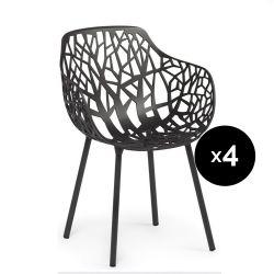 Lot de 4 fauteuils design Forest, Fast noir