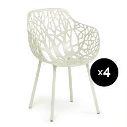 Lot de 4 fauteuils design Forest, Fast blanc crème