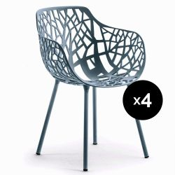Lot de 4 fauteuils design Forest, Fast bleu canard