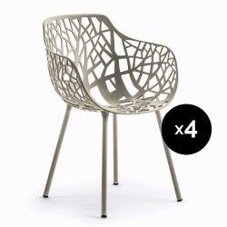 Lot de 4 fauteuils design Forest, Fast gris clair métal