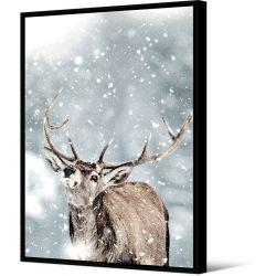 Toile encadré Cerf dans la neige 100 x 140 cm, collection My gallery, Pôdevache