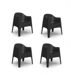 Set de 4 Fauteuils Solid, Vondom noir