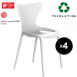 Lot de 4 Chaises Love Revolution® en plastique recyclé, Vondom blanc Milos 4023