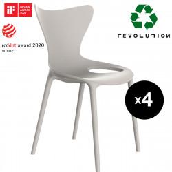 Lot de 4 Chaises Love Revolution® en plastique recyclé, Vondom beige Cala 4021