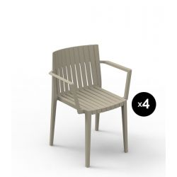 Lot de 4 chaises Spritz, Vondom ecru Avec accoudoirs