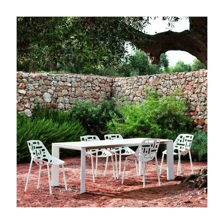 Table grande arche avec rallonges fast blanc longueur 220 for Table exterieur avec rallonge