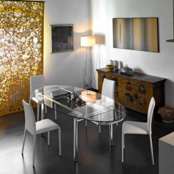 Table à rallonges ovale Mambo, Midj plateau verre, pieds ronds chromés 140/210x105 cm