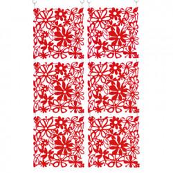 20 carrés séparations design Alice, Koziol rouge transparent