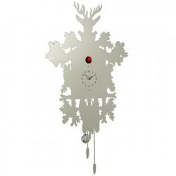 Horloge Cucù Aluminium, Diamantini & Domeniconi gris argent, oiseau rouge