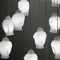 Lampe suspension Buddha slide blanc