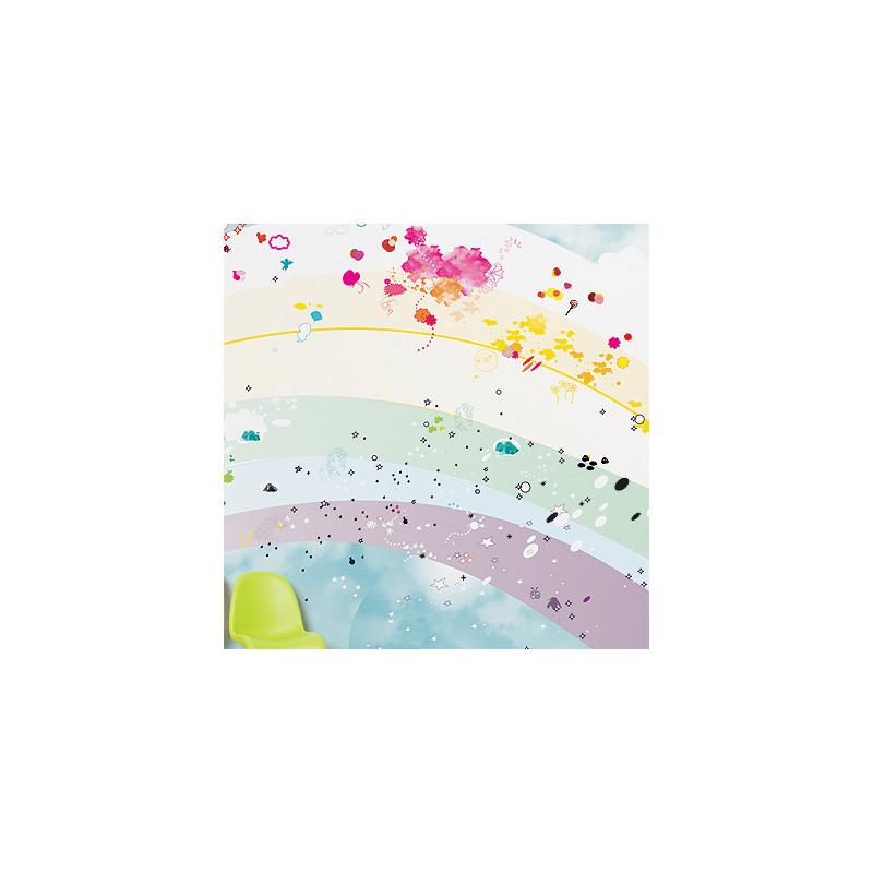 papier peint enfant rainbow domestic cerise sur la deco. Black Bedroom Furniture Sets. Home Design Ideas