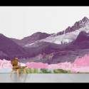 Papier peint panoramique Mont rose, Domestic rose, violet mauve