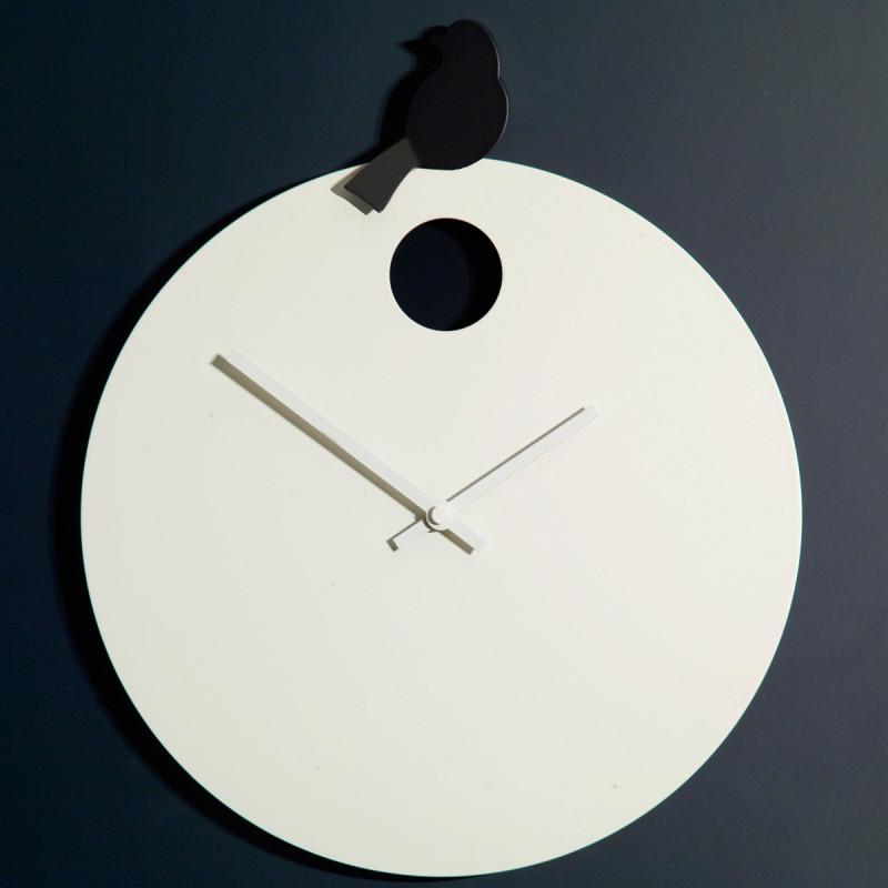 Horloge free bird diamantini u domeniconi horloge blanche oiseau noir with horloge blanche design for Horloge blanche design