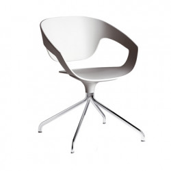 Chaise pivotante Vad, Casamania blanc ral 9002, pieds chromés