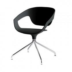 Chaise pivotante Vad, Casamania noir, pieds chromés