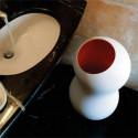 Poubelle design Korzina, Casamania blanc, intérieur orange