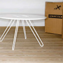 Table basse ronde Twine, Casamania blanc, structure noir, 50cm