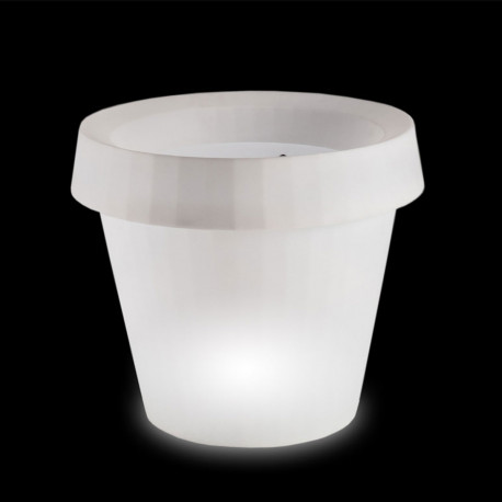 Pot géant lumineux Gio Tondo, Slide Design blanc H 92 cm