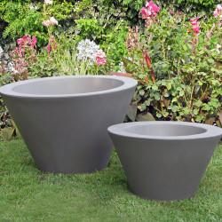 Petit X-pot gris, Slide Design gris Hauteur 33 cm