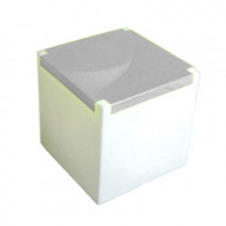 Table basse lumineuse Kubo, Slide Design blanc, plaque inox