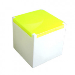 Table basse lumineuse Kubo, Slide Design cube blanc, plaque jaune