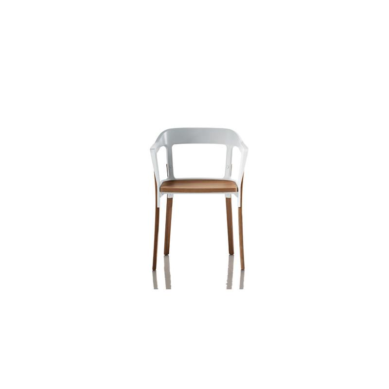 Chaise design steelwood magis blanc bois clair cerise for Chaise design bois clair